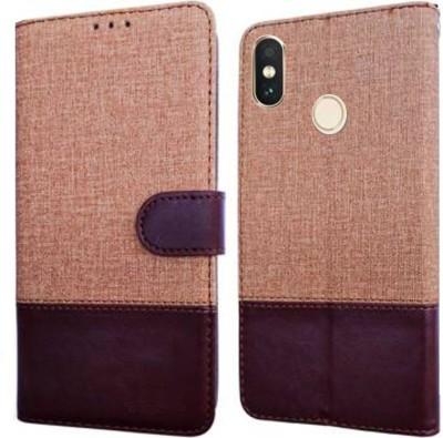 Spicesun Flip Cover for Mi Redmi Note 5 Pro(Brown, Cases with Holder)
