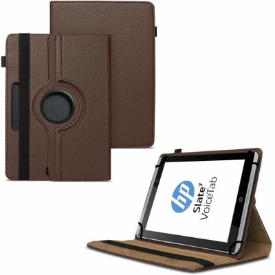 TGK Flip Cover for HP Slate 7 VoiceTab Tablet (WiFi, 3G, Voice Calling) 7 inch / Rotating Stand Case(Brown, Cases with Holder)