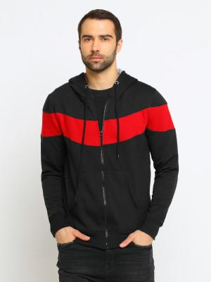 Maniac Self Design Hooded Neck Casual Men Black, Red Sweater