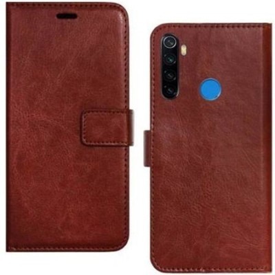 Ridhaniyaa Flip Cover for MI Redmi Note 8, Plain, Case, Cover(Brown, Cases with Holder)