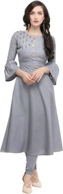 ZIKARAA Women Embellished Anarkali Kurta(Grey)