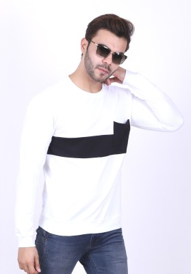 Patche Round Neck Solid Men Pullover