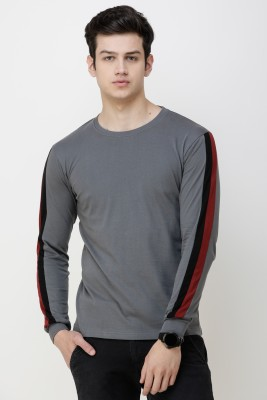 KAY S APPARELS Solid Men Hooded Grey T-Shirt