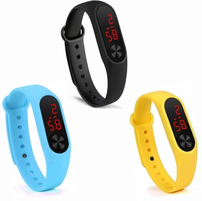 real Silicone Led Magnet Band Combo of 3 yellow, sky blue And Black Digital Watch - For Men & Women Silicone Led Magnet Band Combo of 3 yellow , sky blue And Black Digital Watch - For Men & Women Digital Watch  - For Boys & Girls