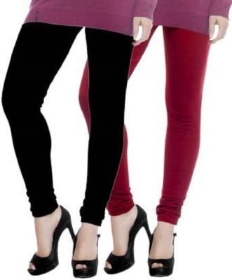 Ritika Churidar Length Legging(Maroon, Black, Solid)