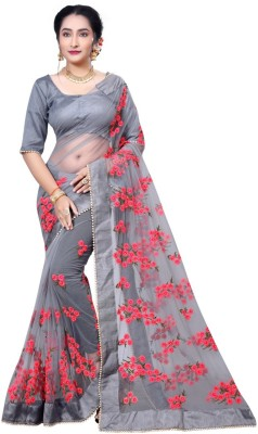 Availkart Embroidered Fashion Cotton Blend Saree(Grey)