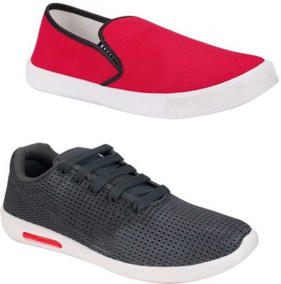 Tryviz Tryviz Combo Red Loafer Grey Sport Running Shoes for Men/Boy Pack of 2 Sneakers For Men(Multicolor)