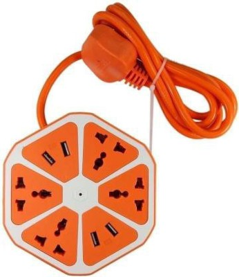 vk integrate USB Hexagon And Surge Protector 4 Socket Extension Boards Orange