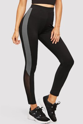 Blinkin Color Block Women Black, Grey Tights