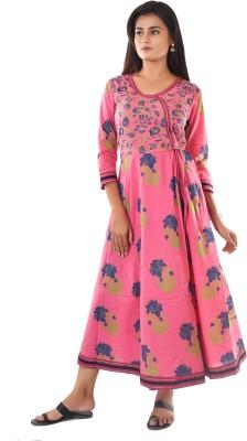 KALAGRAM Women Floral Print A-line Kurta(Pink)