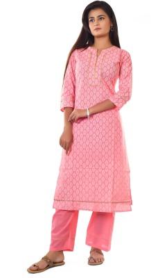 KALAGRAM Women Block Print, Floral Print Straight Kurta(Pink)