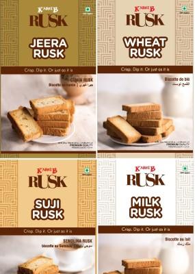 Kabhi B Toast Combo - 4 PC Milk, Wheat, Suji, Jeera flavored Milk Rusk(4 x 0.25 kg)