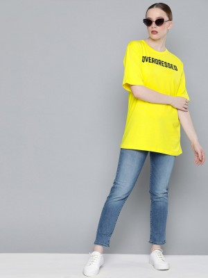 Dillinger Typography Women Round Neck Yellow T-Shirt