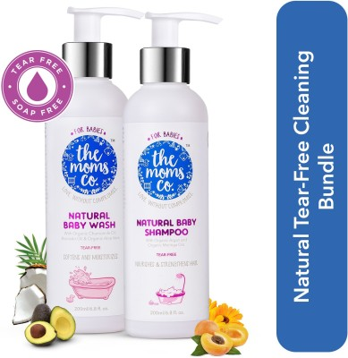 The Moms Co. Natural Tear-Free Cleaning Bundle For Baby(White)