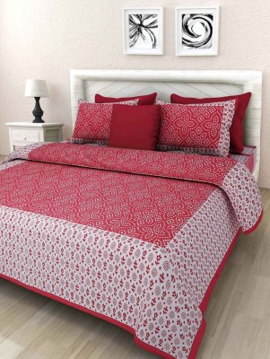 Stycloth 280 TC Cotton Double Printed Bedsheet(Pack of 1, Red)