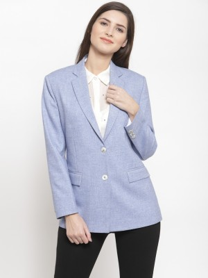 Audstro Solid Single Breasted Formal Women Blazer(Blue)