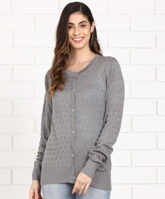Anmi Women Button Self Design Cardigan