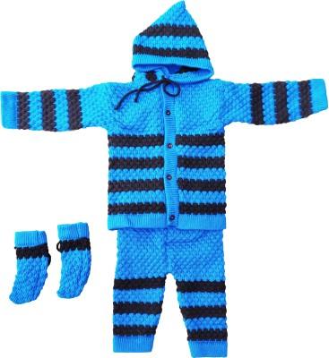 Customary Baby Boys & Baby Girls Casual Sweater Pyjama, Mitten(Blue)