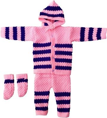 Customary Baby Boys & Baby Girls Casual Sweater Pyjama, Mitten(Pink)