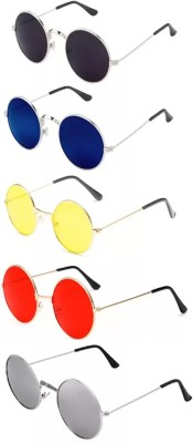 Elligator Round Sunglasses(Red, Yellow, Black, Silver, Blue)