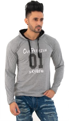 SKYBEN Printed Men Hooded Neck Grey T-Shirt