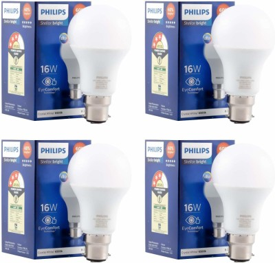 Philips 16 W Standard B22 LED Bulb  (White, Pack of 4)