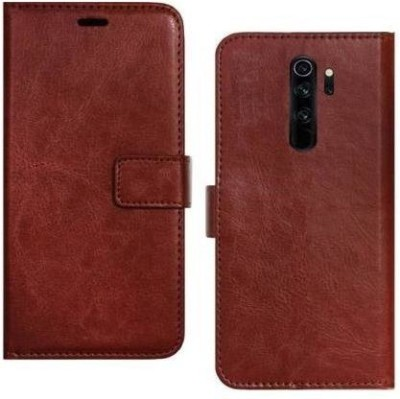 Ridhaniyaa Flip Cover for MI Redmi Note 8 Pro, Plain, Case, Cover(Brown, Cases with Holder)