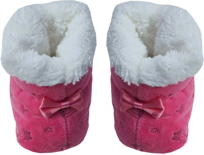 MMShopy kids Booties(Toe to Heel Length - 12 cm, Red)