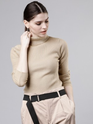Tokyo Talkies Solid Turtle Neck Casual Women Beige Sweater