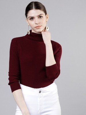 Tokyo Talkies Solid Turtle Neck Casual Women Red Sweater