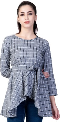 God Bless Casual Regular Sleeve Checkered Women White, Black, Grey Top