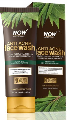 WOW SKIN SCIENCE Anti Acne  - OIL Free - No Parabens, Sulphate, Silicones & Color Face Wash(100 ml)