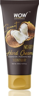 WOW Skin Science Coconut Gentle Hand Cream With Coconut Oil + Hyaluronic Acid – No Parabens, Silicones, Mineral Oil, Color & Pg, 40 ml