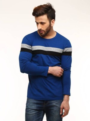 Azy Fabrics Solid Men Round Neck Blue, Grey T-Shirt
