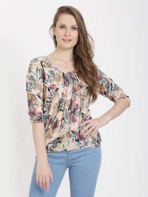 bright nex Casual Cap Sleeve Floral Print Women Multicolor Top