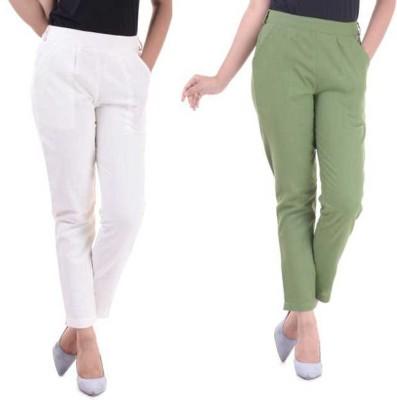 Olviya Regular Fit Women White, Green Trousers