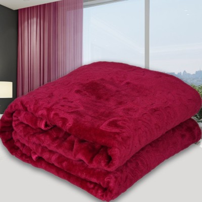 SPANGLE Self Design Single AC Blanket(Polyester, Red)