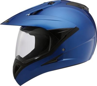STUDDS MOTOCROSS PLAIN WITH VISOR FULL FACE - L Motorbike Helmet(Flame Blue)