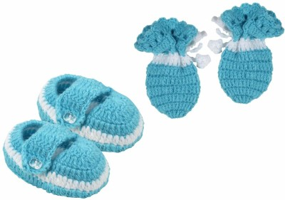 cute collection Cute Collection- Hand made woolen Booties with Mitten Set for new born baby (soft, 0-3 months) Booties(Toe to Heel Length - 5 cm, Blue)