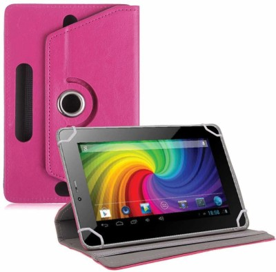 TGK Flip Cover for Micromax Funbook P255 Tablet 7 inch Universal Rotating Case(Pink, Cases with Holder)