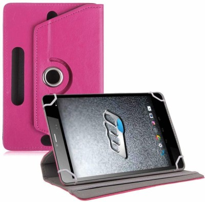 TGK Flip Cover for Micromax Canvas Tab P470 Tablet 7 inch Universal Rotating Case(Pink, Cases with Holder)