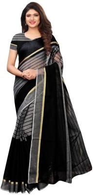 Saara Striped, Woven Handloom Cotton Blend, Poly Silk Saree(Black, Grey)