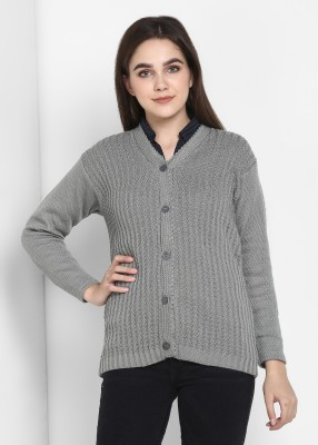 Pivl Self Design V Neck Casual Women Grey Sweater