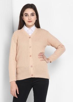 Pivl Self Design V Neck Casual Women Beige Sweater