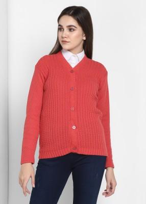 Pivl Self Design V Neck Casual Women Pink Sweater
