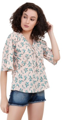 POISON IVY Casual Half Sleeve Floral Print Women Blue, Beige Top POISON IVY Women's Tops