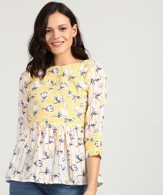 AND Casual Cuffed Sleeve Printed, Striped Women White, Yellow Top