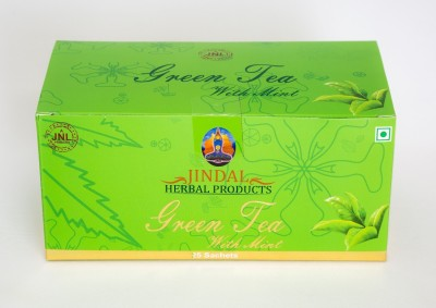 JINDAL HERBALS Green Tea With Mint bags 25 Sachets Mint Herbal Tea Bags Box(50 g)