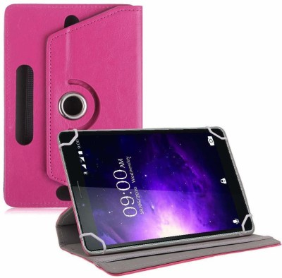 TGK Book Cover for Lava Magnum X1 T70 Tablet 6.98 inch Rotating Leather Case(Pink, Cases with Holder)