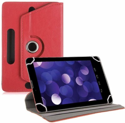 TGK Book Cover for Datawind Ubislate 7DCZ Tablet 7 inch Rotating Leather Stand Case(Red, Cases with Holder)